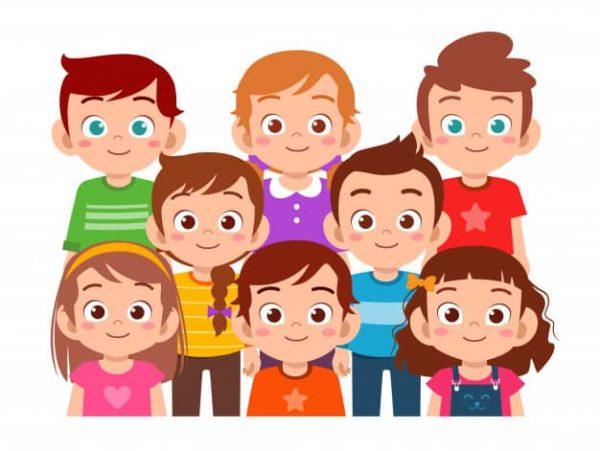 dessin de 8 enfants côte à côte regardabr droit devants heurs