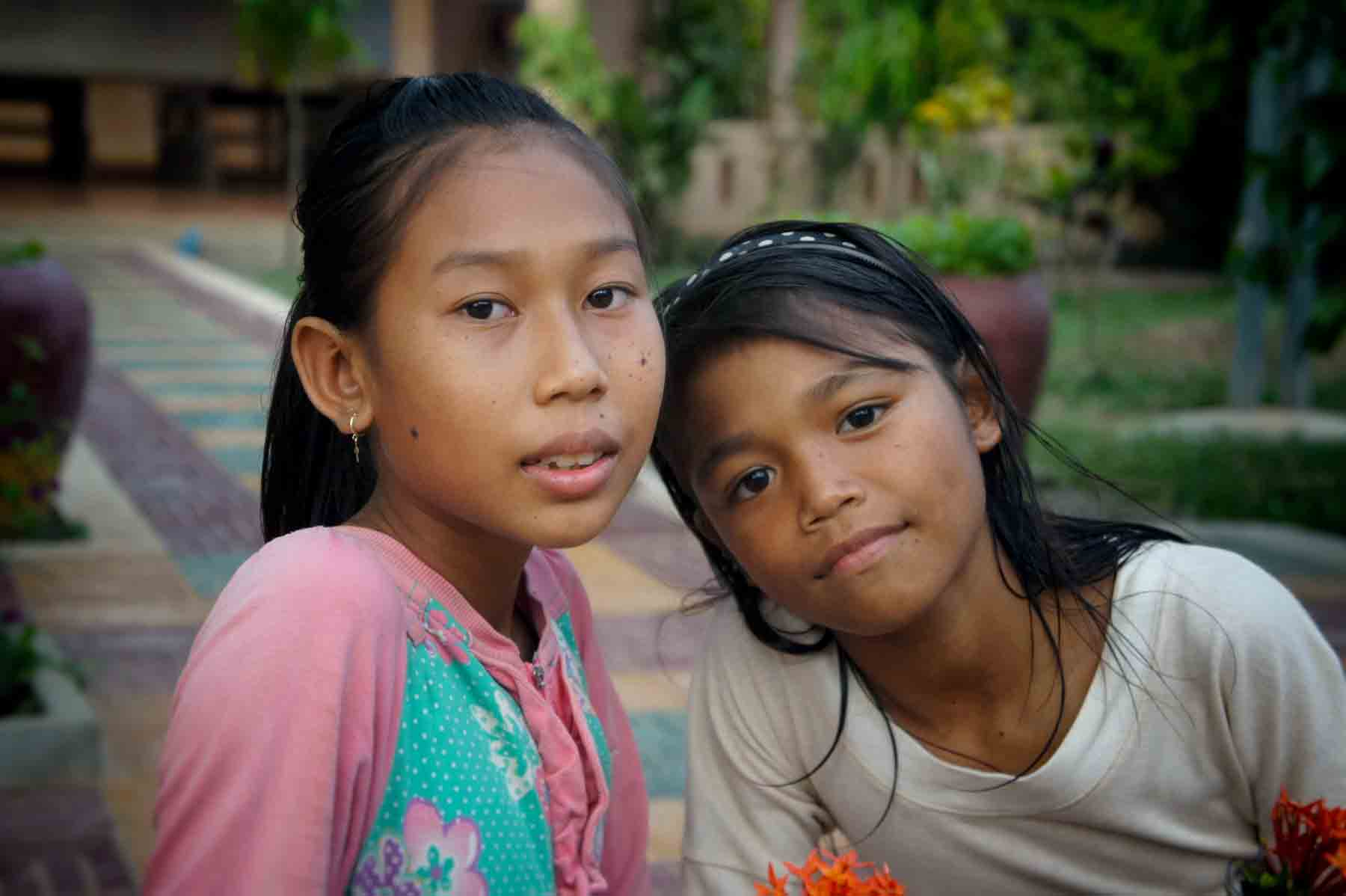 Two young orphan girls are playing in our child protection center in Cambodia thanks to your sponsorships.